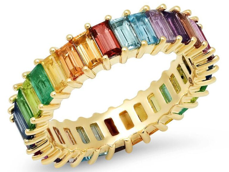Multi-colored gemstone vertical baguette eternity band