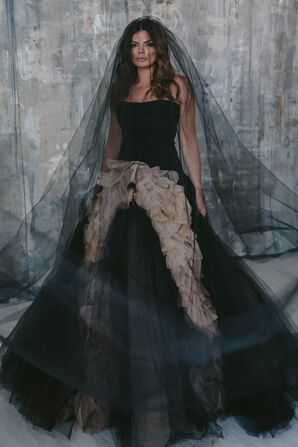 Dramatic Black Dropped-Waist Wedding Dress