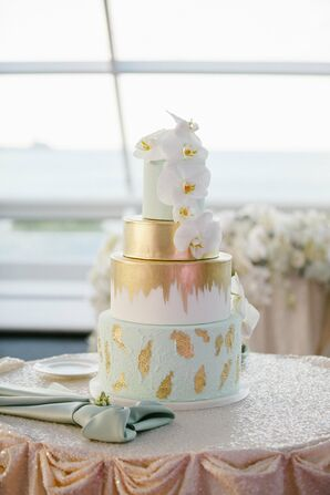 Hand-Painted Gold and Mint Wedding Cake