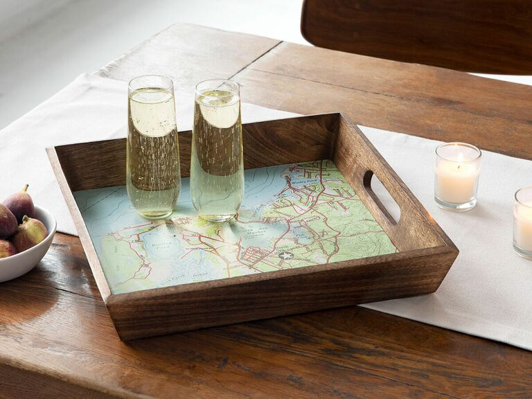 customized map serving tray