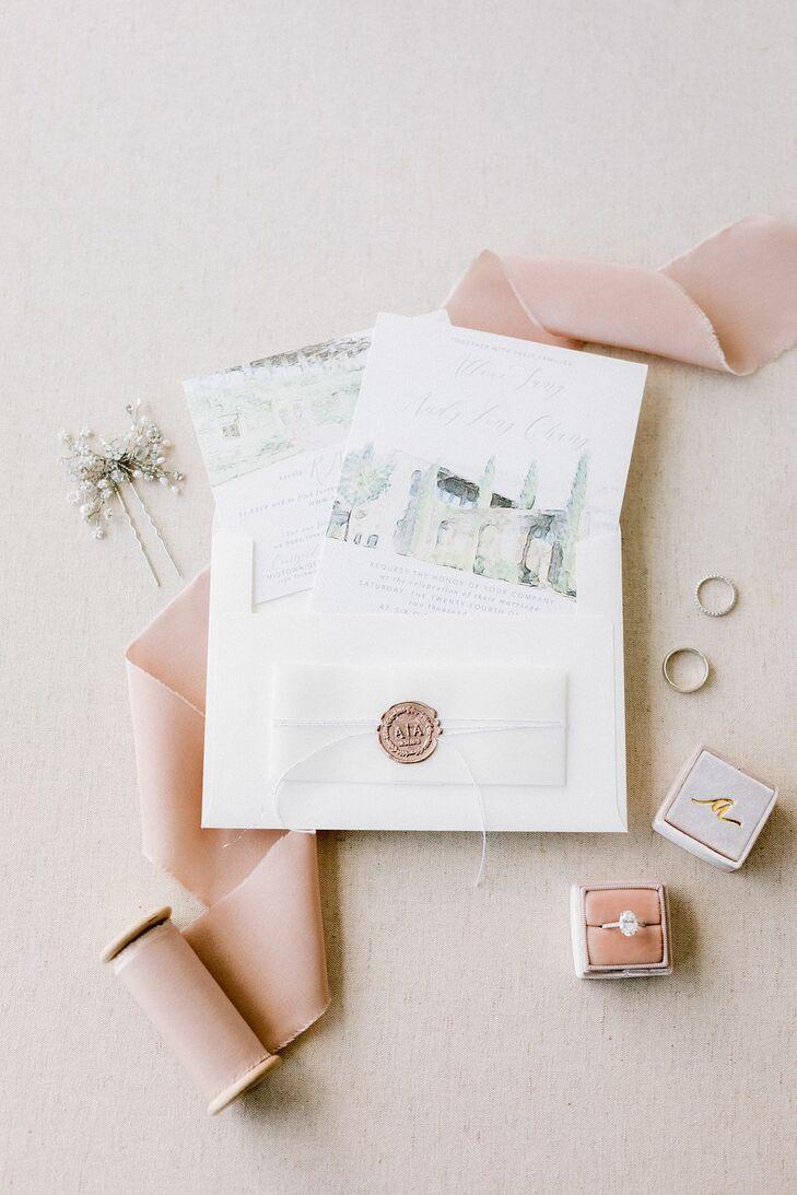 Illustrated Invitation for Wedding at Summerour Studio in Atlanta, Georgia