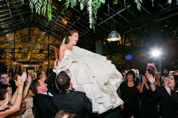 Katina and Blake were lifted above the crowd during the hora, a traditional Jewish dance.