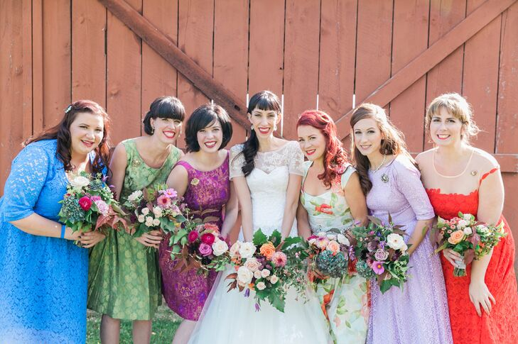 """I felt it was more personal to have the bridesmaids choose their own dresses,"" the bride says. ""I gave them some guidelines and ideas and the result was really pretty."""