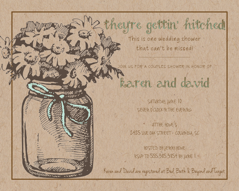 Rustic Wedding Shower Invitation Wording