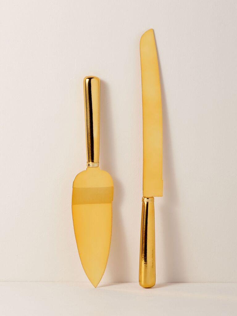 Gold wedding cake knife and server set