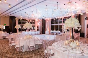 Tall Ivory Hydrangea Centerpieces in Mirrored Vases