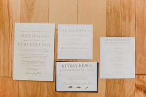 Grey, White and Navy Invitation Suite