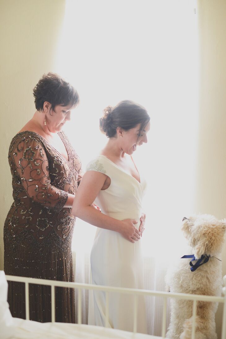 """I was so in love with my dress,"" says Alex, who wore the ""Clover"" gown from designer  Amy Kuschel. ""It's me in every way. I loved that I felt like my best self in it, the lines are clean, it was simple, yet elegant, and had just a touch of Gatsby-flair. """