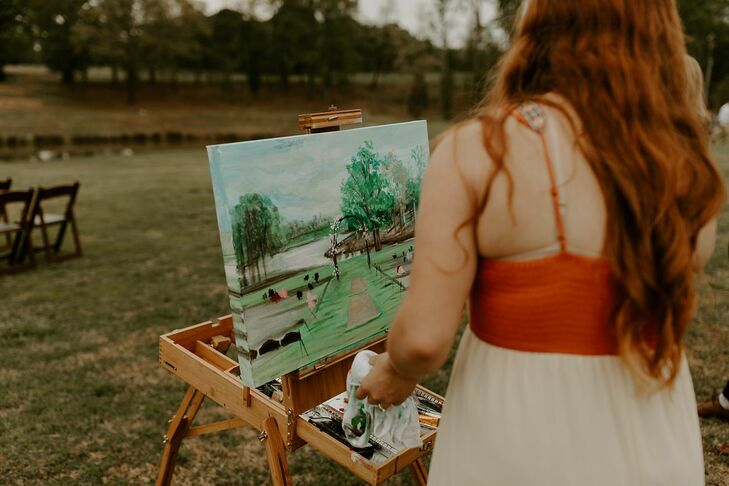 Live Painter at Outdoor Bohemian Wedding Ceremony