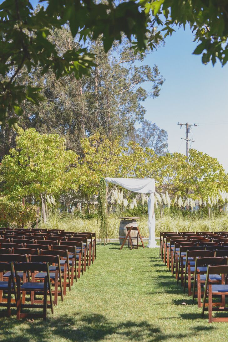 The couple chose to host their early Fall wedding in wine country so they could be outdoors without having to worry about the bad weather that typically plagues San Francisco.