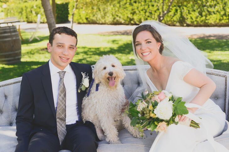 The couple made sure to include their beloved dog Zoey in the celebration. After sitting with a friend at the ceremony, she roamed around the venue for the rest of the day, mingling and taking photos with guests.