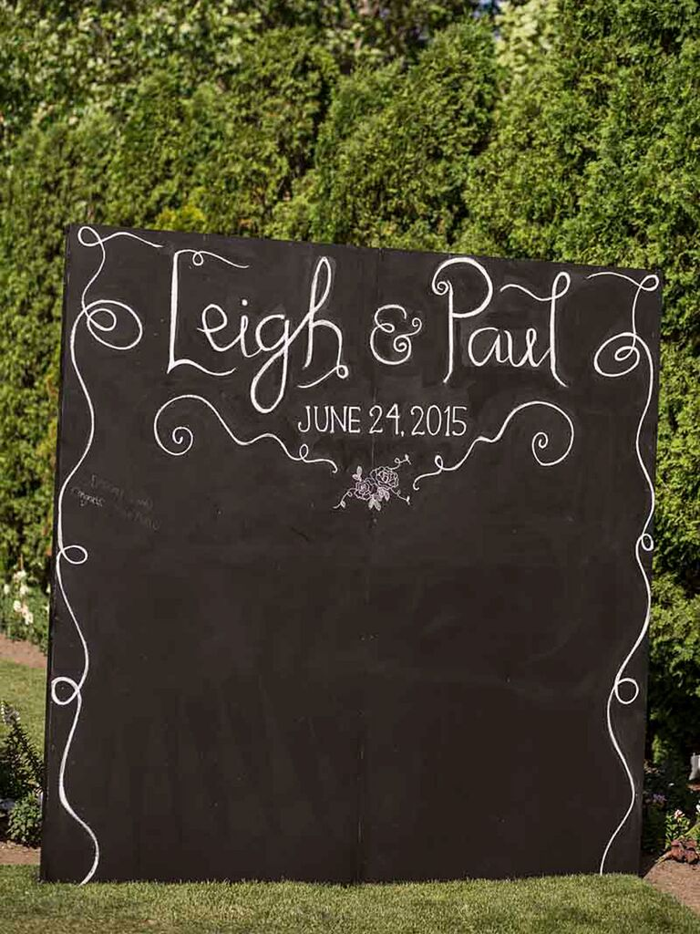 DIY chalkboard background for a wedding photo booth