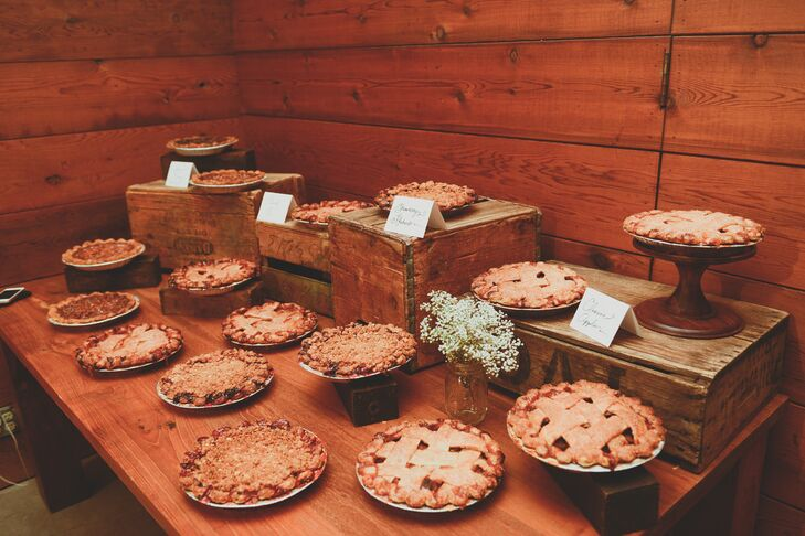 The couple kept it personal when it came to dessert, serving four types of pies (their dessert of choice) instead of a wedding cake.