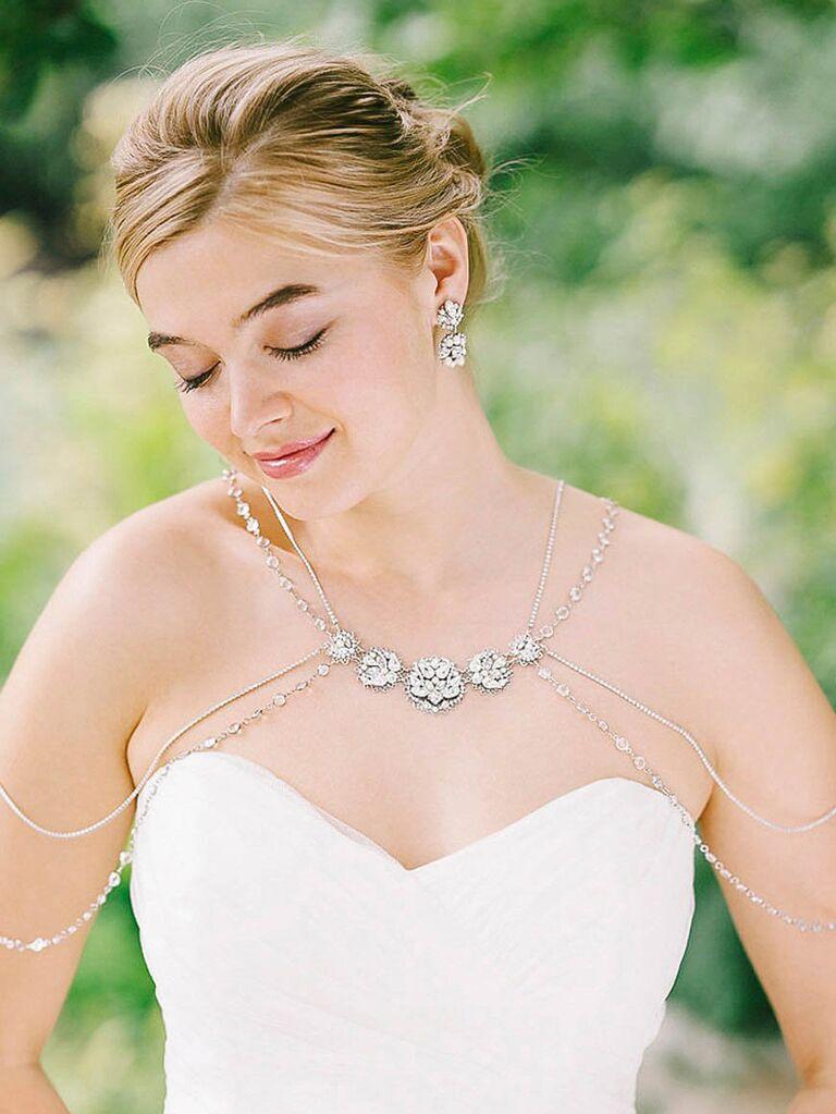 Silver floral bridal shoulder necklace