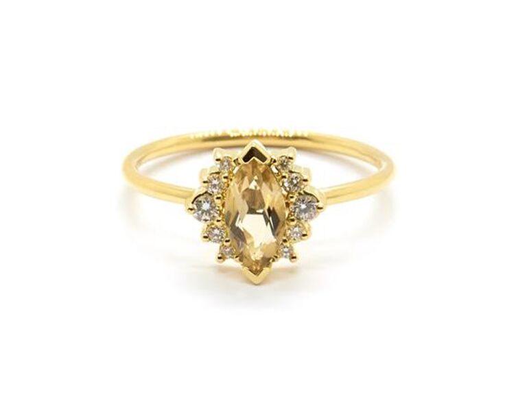 Champagne quartz and diamond engagement ring