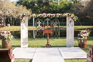 Ceremony Backdrop with Stained Glass and Shutters