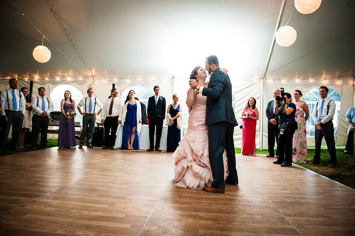 Bride and Groom Dancing at Tented Reception