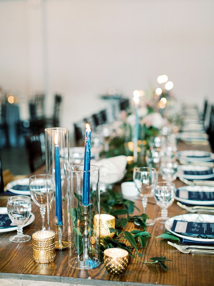 Blue Taper Candles at North Carolina Wedding at The Merrimon-Wynne House