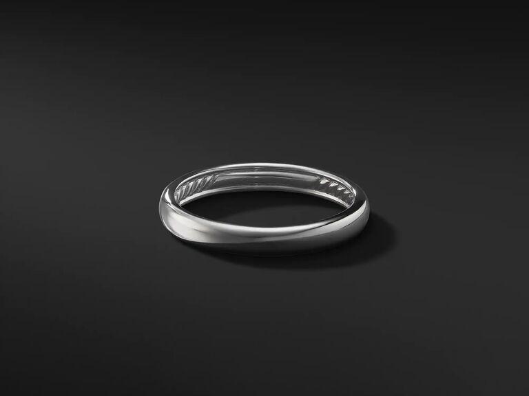 Minimalist platinum band ring 20th anniversary gift