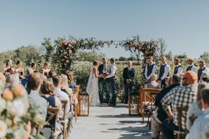 Rustic-Elegant Ceremony Beneath Floral Wedding Arch