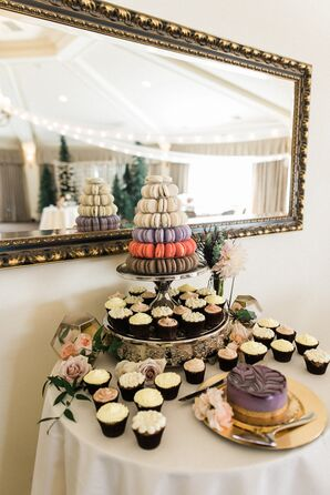 Cupcake and French Macaron Dessert Tower