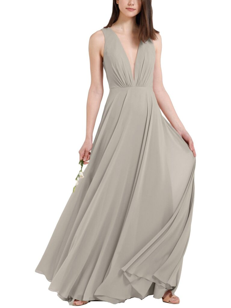 Sandy light gray bridesmaid dress