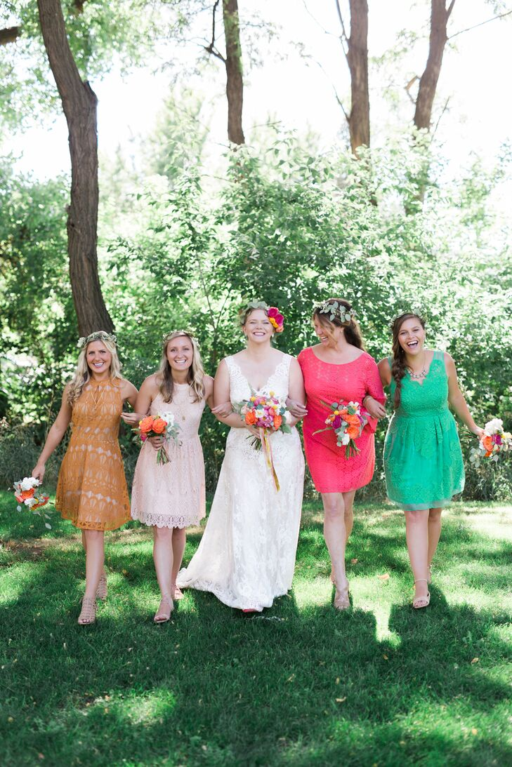 "Devin asked each bridesmaid to wear a dress of their choosing in an assigned color: mustard yellow, turquoise, coral pink and blush. I asked the bridesmaids to look for a short-length dress in lace in their assigned color and to pick a nude or tan shoe. ""I wanted them to feel comfortable in their dress choices and let them come up with a budget of what they felt comfortable spending,"" Devin says."