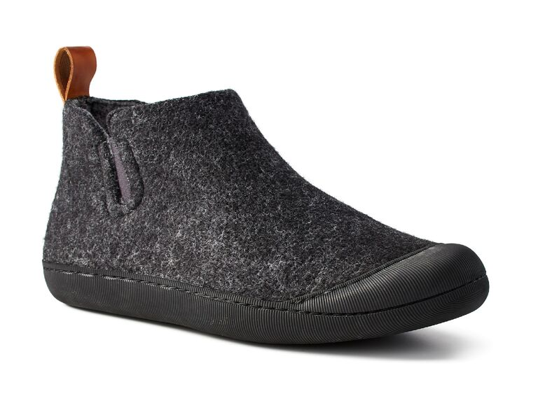 Charcoal gray wool slipper boot with rubber sole and toe box