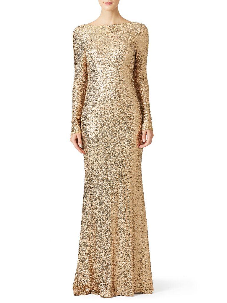 Gold sequin winter wedding guest gown