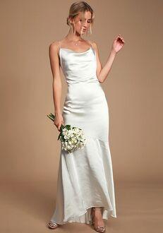 Lulus Aisle White Satin Cowl Neck Maxi Dress Mermaid Wedding Dress