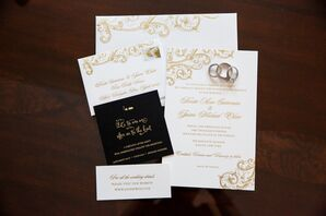 Regal White Wedding Invitations With Gold Details