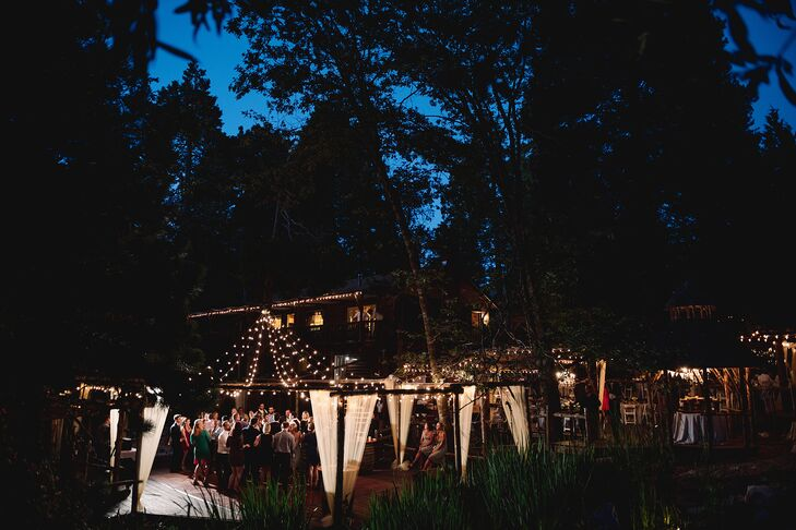 """""""The venue already had a lot of charm, with a wooden awning covered with vines and leaves,"""" Erin says of Arrowhead Pine Rose Cabins in Twin Peaks, California."""