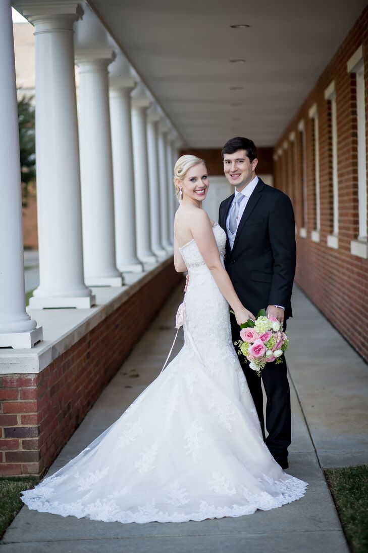 Kelly wore a stunning trumpet-style dress with lace details and a chapel train. Her style truly channeled her Southern heritage.