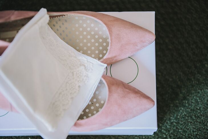 Soft pink flats made a sophisticated statement on Sarah and Finn's wedding day (without sacrificing comfort).