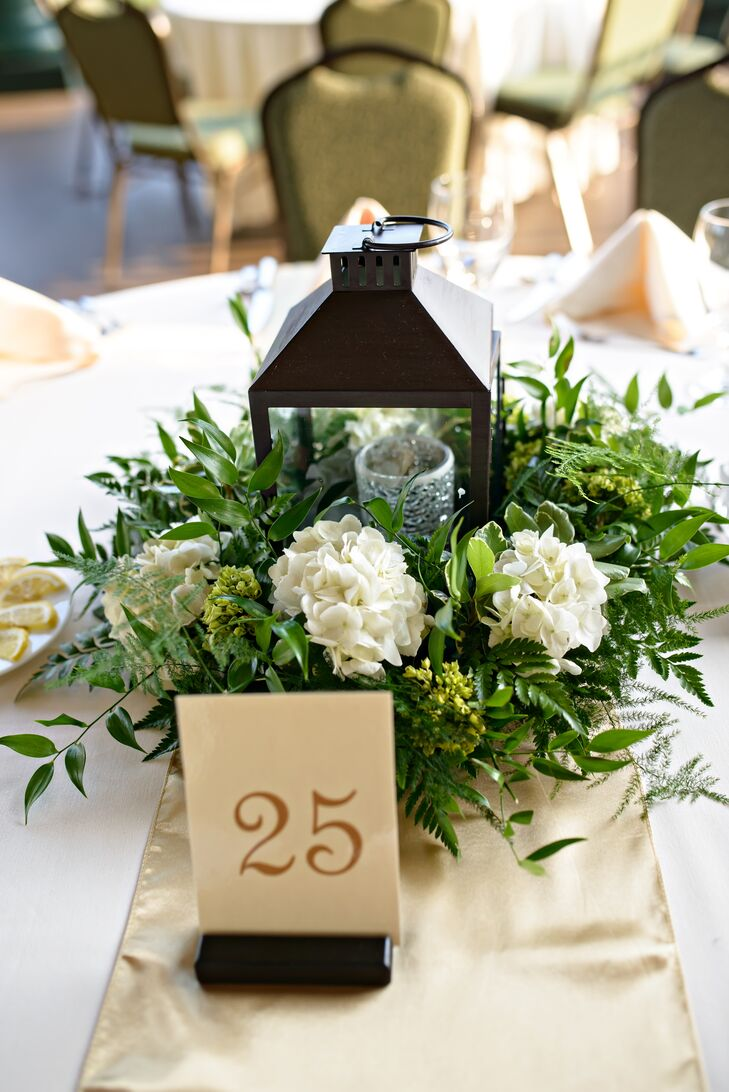 Black Lantern Hydrangea And Greenery Centerpiece
