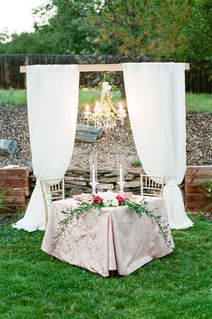 Glam Sweetheart Table with Arbor and Chandelier