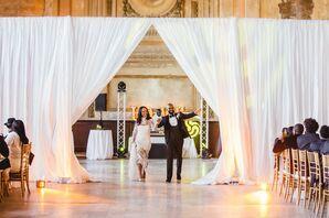 Glamorous Newlywed Reception Entrance