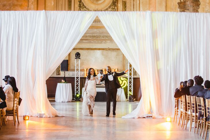 Glamorous Newlywed Reception Entrance