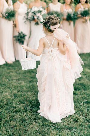 Bohemian Flower Girl in Pink Chiffon Dress