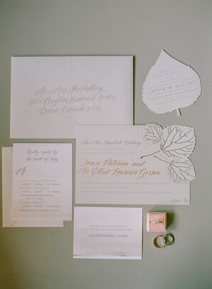 Neutral Wedding Invitations with Leaf Motif and Formal Calligraphy