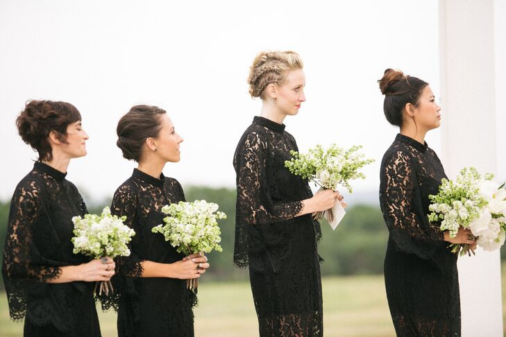 Black Lace Bridesmaid Dresses and Spring Bouquets