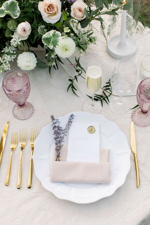 Blush-and-Purple Place Setting at Wente Winery Wedding