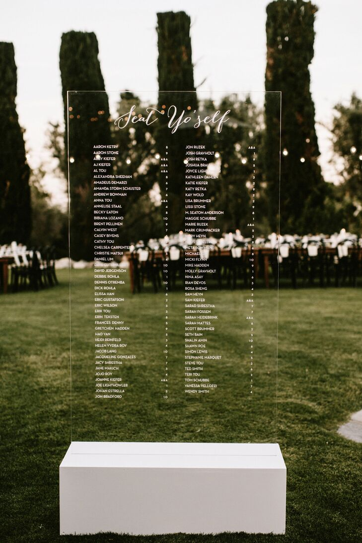 Two clear acrylic panels were calligraphed with guest names and their corresponding table numbers.