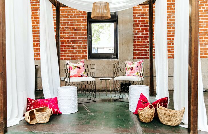 Pink-and-White Lounge Area for Wedding at Sandbox in San Diego, California