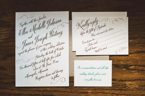 Rose Gold Penny Foil Wedding Invitations
