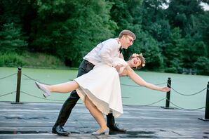 Bride and Groom Dancing Outside Prospect Park Boathouse
