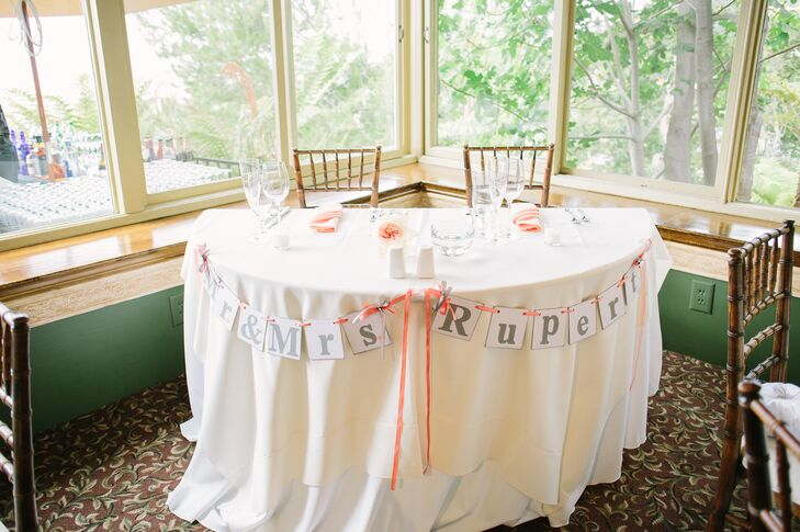 """""""Our sweetheart table simply included my bouquet and a sign that read """"Mr. and Mrs. Rupert"""" draped across the front of the table,"""" says Brittney."""