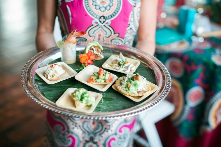 The passed appetizers during cocktail hour included mini crab and chicken mole tostadas, bean and cheese sopes, grilled shrimp with chipotle salsa, and quesadillas.