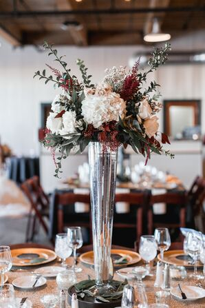 Tall, Rustic Hydrangea and Eucalyptus Centerpieces