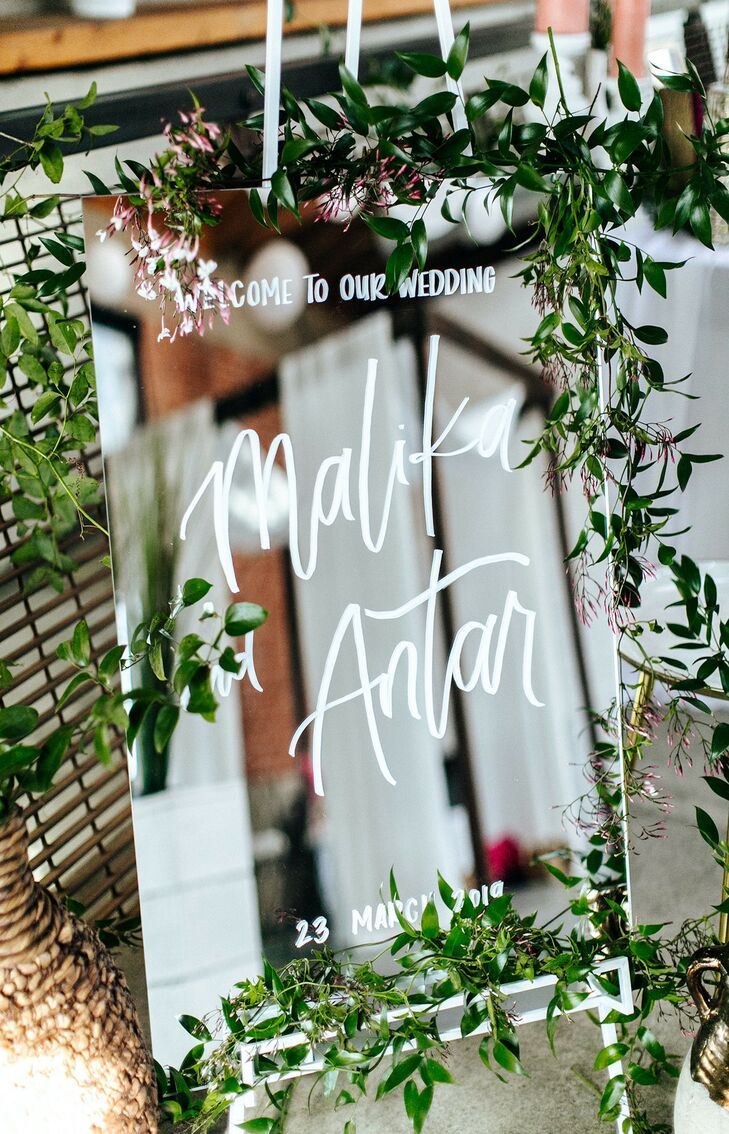 Mirrored Sign for Wedding at Sandbox in San Diego, California